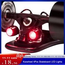 Koowheel 4Pcs סקייטבורד LED אורות לילה אזהרת בטיחות אורות עבור 4 גלגלי סקייטבורד Longboard
