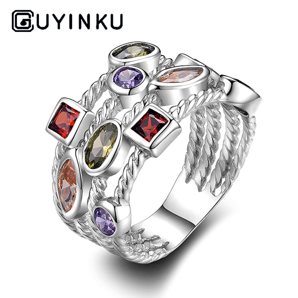 GUYINKU New Arrival 925 Sterling Silver Finger Ring With Rainbow Topaz Vintage Rings For Women Engagement Jewelry S925 Gifts