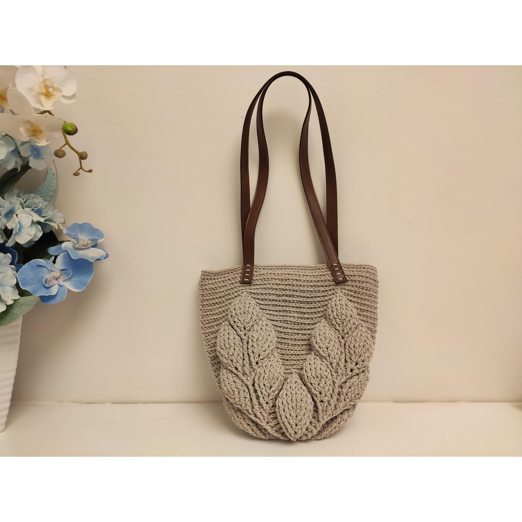 Mink 3D Leaf Bag Shoulder Bag Mesh Bag TREND Handbag - Knitting - Handmade - Shoulder Bag