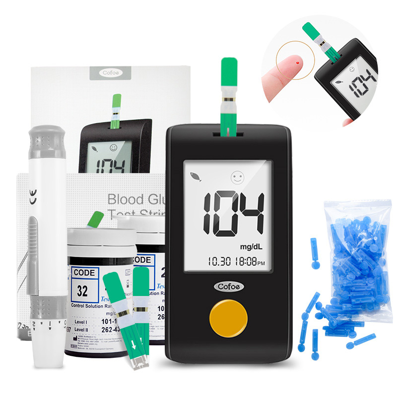 Cofoe Yiling Mg/dL Diabetes Blood Glucose Meter & Test Strips & Lancets Test Blood Sugar Glucometer Health Care For Man Female