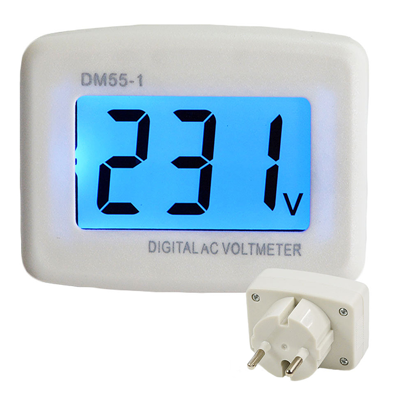 Digital Plug In Voltage Meter DM55-1 110-220V EU/US Plug Voltage Tester Wall Flat Voltage Measuring Digital AC Voltmeter