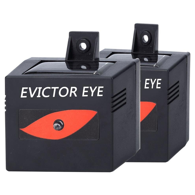 2PCS Solar Repeller Evictor Eye Waterproof Design Solar Powered Animal Repeller For Deterrent Coyotes,Raccoon, Skunks, Animals