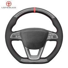 LQTENLEO Carbon Fiber Black Suede Car Steering Wheel Cover For Seat Leon Cupra Leon ST Cupra Leon ST Cupra Ateca Cupra Ateca FR