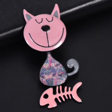 D&Rui Jewelry Childrens Enamel Brooch Cat for Women Men Cute Pink Metal Alloy Fish Bone Animal Christmas Hijab Brooches Pins
