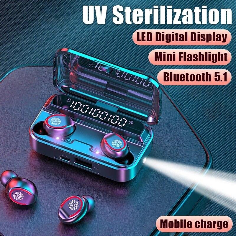 Auriculares TWS deportivos con Bluetooth 5,1, auriculares inalámbricos con micrófono, resistentes al agua, Control táctil, Mini linterna para música