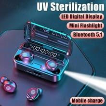 Bluetooth 5.1 fones de ouvido sem fio com microfone à prova dtwágua esporte tws controle toque música mini lanterna