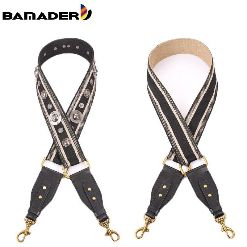 BAMADER Canvas Shoulder Bag Strap Vintage Rivet Crossbody Width Shoulder Straps Leather Bag Part Accessories Apply To Saddle Bag