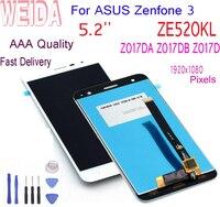 죽은 픽셀 없음 5.2 ''아수스 Zenfone 3 ZE520kl LCD 디스플레이 Z017D Z017DA Z017DB ZE 520KL 터치 스크린 디지타이저 교체 + 도구
