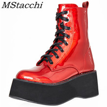MStacchi New Style Autumn Women Boots Lace Up Zipper Red Ora