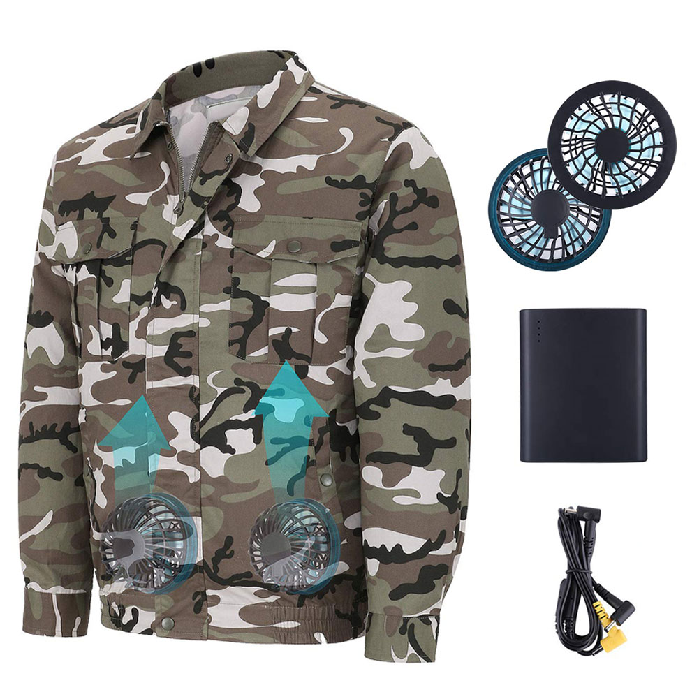Unisex Workwear Jacket Clothes Equipped Cooling Fan For Summer Outdoor Air-Conditioned FEA889