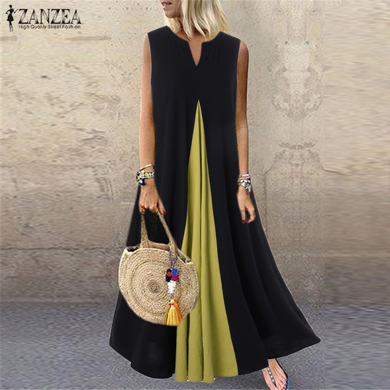 S 5XL ZANZEA Fashion Pacthwork Sundress 2020 Summer Sleeveless Party Vestidos Women Solid Cotton Long Dress Femme Tunic Robe