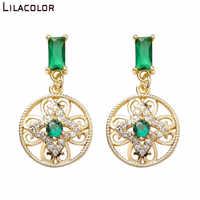 Creux fleurs femmes boucles d'oreilles goutte vert cristal Vintage boucles d'oreilles élégant partie mentale alliage rond boucle d'oreille bijoux