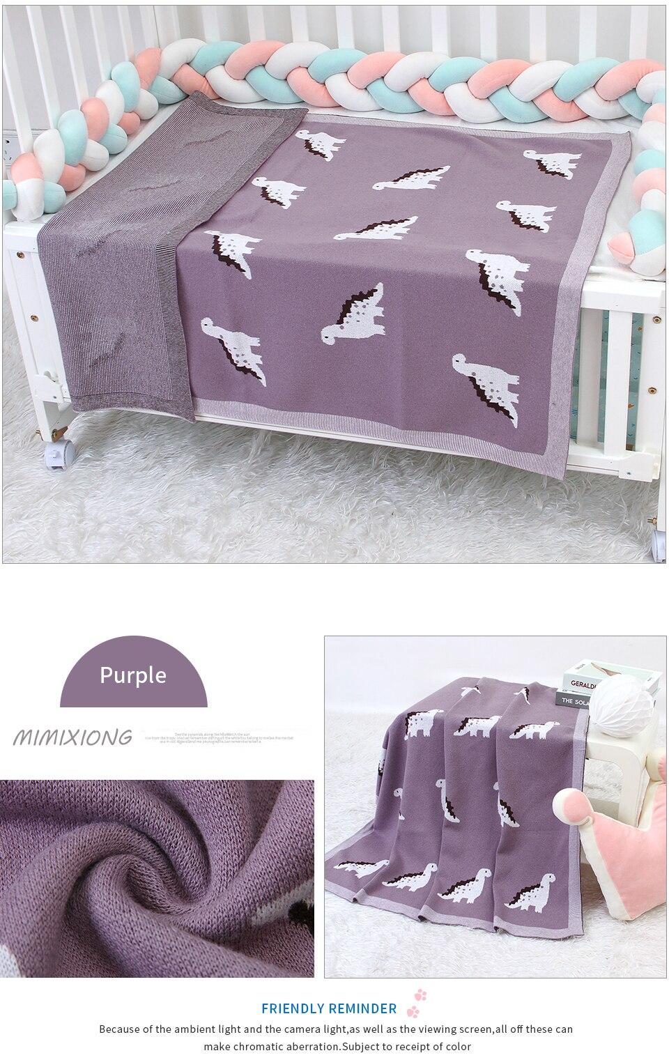 cobertores de algodão 100*80cm dinossauro malha criança