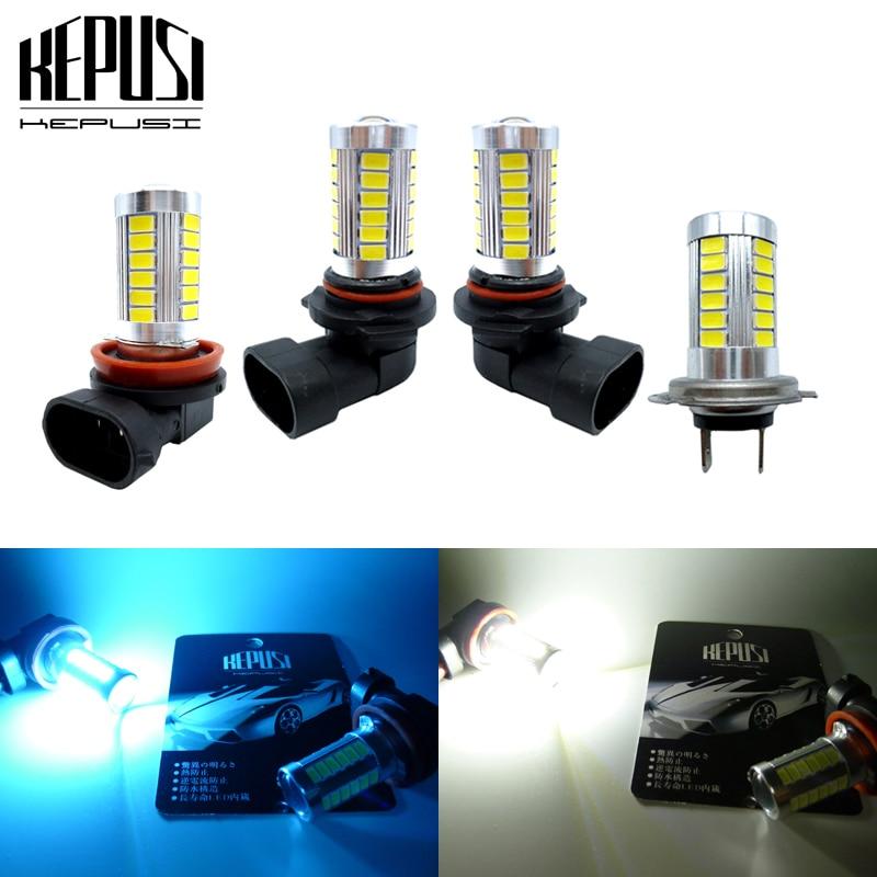 2x H11 H8 9005 HB3 9006 HB4 H7 LED Fog Light Bulbs Car LED Running Lights Auto Driving Lamp DRL White Ice Blue 12V