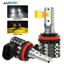 AUXITO-bombilla LED H8 H9 H11 H16JP para coche, luz de conducción antiniebla, DRL, 12V, 6000K, blanco, 3000K, amarillo, ámbar, 2 uds.