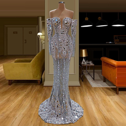 Вечернее платье русалки с длинными рукавами и открытыми плечами, длина до пола, расшитое бисером, с блестками, для выпускного вечера, на Ближ...