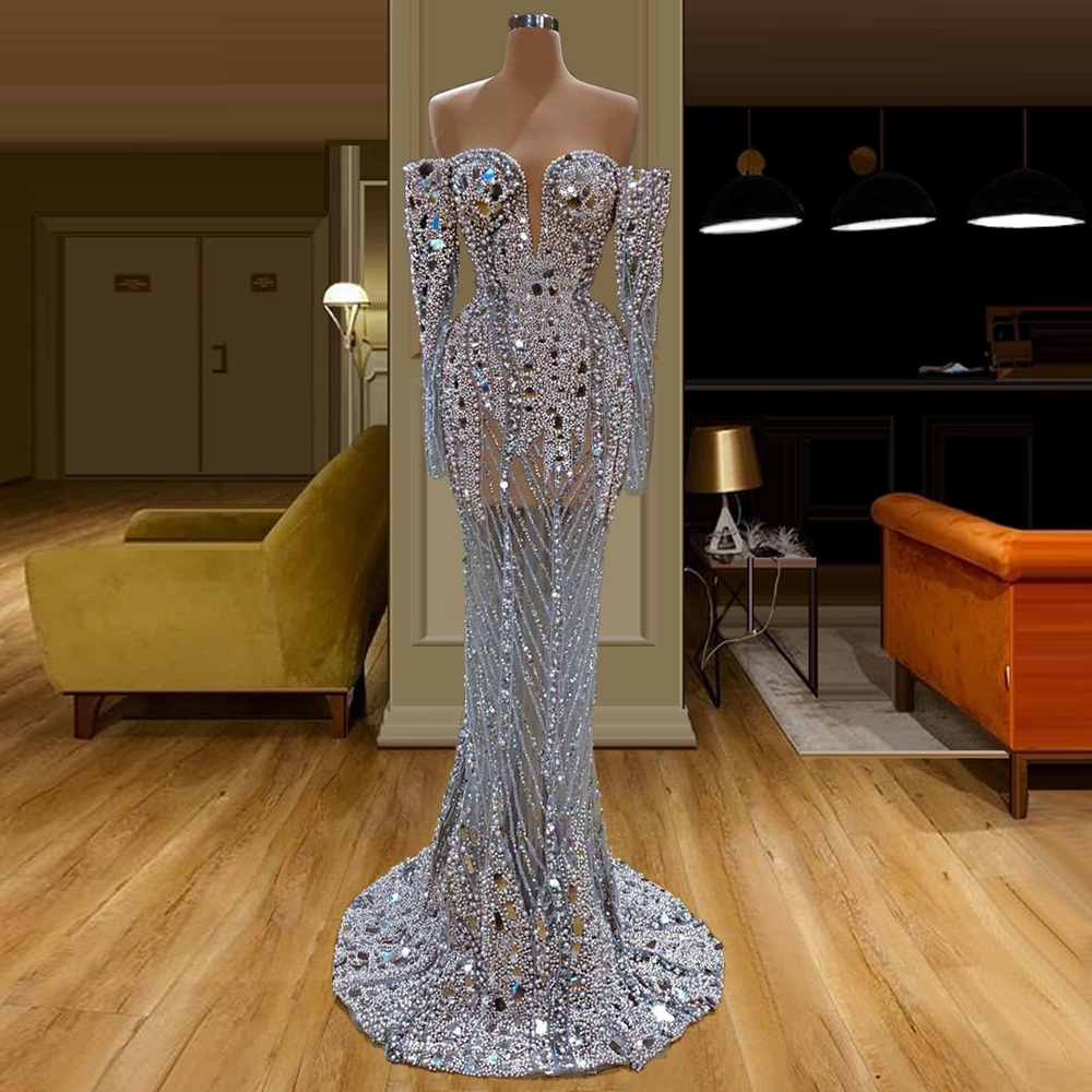 Long Sleeves Off The Shoulder Mermaid Evening Dress Floor-Length Beaded Sequined Prom Dress Middle East Saudi Arabia Formal