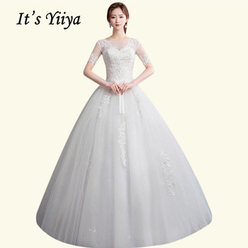 Wedding Gowns It's Yiiya BR678 Elegant Boat Neck Long Vestido De Novia Embroidery Sequined Wedding Dress Lace Bridal Dresses