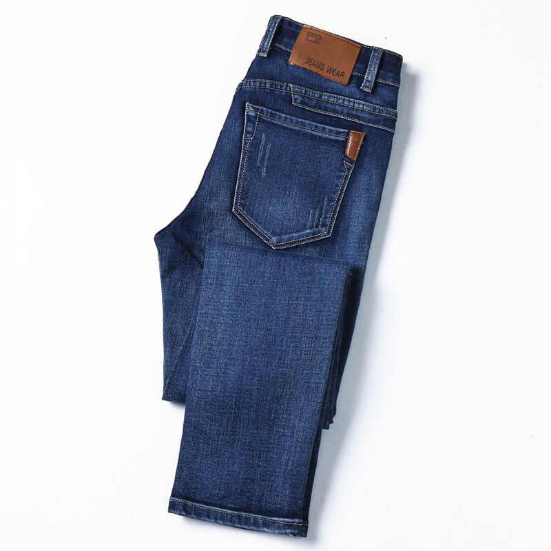 Estiramento calças de brim dos homens 2019 nova marca juventude reta clássico streetwear fashion versão Coreana do slim calças compridas azul preto calças de brim