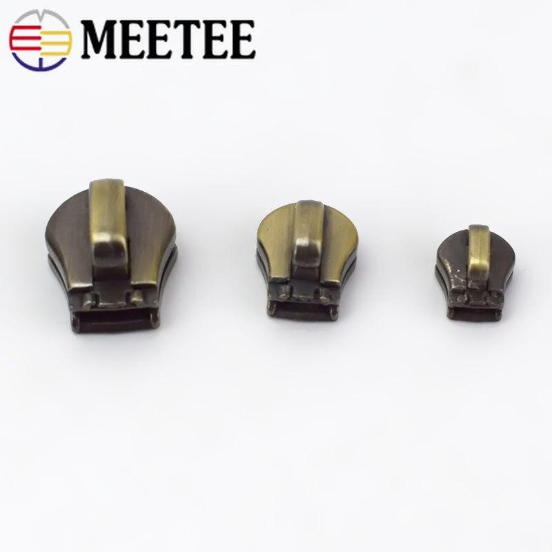 Meetee 10pcs 3 5 8 10 Metal Zipper Head Pull Slider Zip Lock Bag Luggage Garment DIY Repair Kit Hardware Accessories AP604 in Zipper Sliders from Home Garden