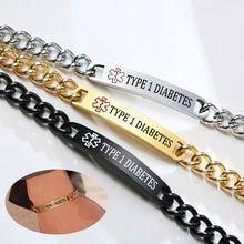 Personalized Stainless Steel Medical Alert ID Bracelet Diabetes Custom Name ICE Emergency For Women Men Jewelry