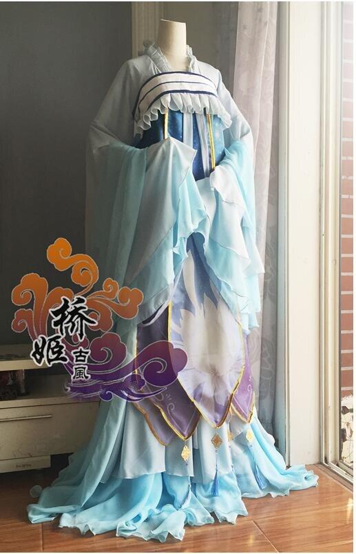 Jeu Miracle Nikki lotus chinois style traditionnel robe accessoires Costume de Cosplay costume d'halloween pour les femmes sur mesure