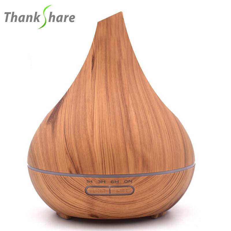THANKSHARE 400ml Ultrasonic Air Humidifier Aroma Essential Oil Diffuser Wood Aromatherapy Cool Mist Maker Fogger Air Vaporizer