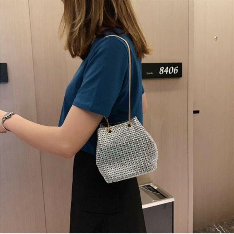 US Women Evening Clutch Full Rhinestone Crystal Handbag Wedding Party Club Bag