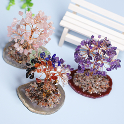 1PC Natural Rose Quartz Life Tree Lucky Tree Fortune Tree Agate Tablet, Mineral Specimen Christmas Decoration, Office Decoration