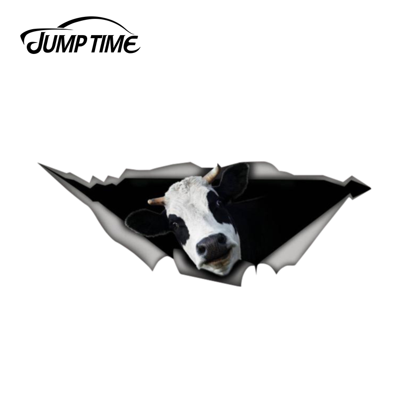 Jump Time 13cm X 4.8cm Cow Sticker 3D Car Styling Torn Metal Decal Wild Animal Funny Car Stickers Window Bumper