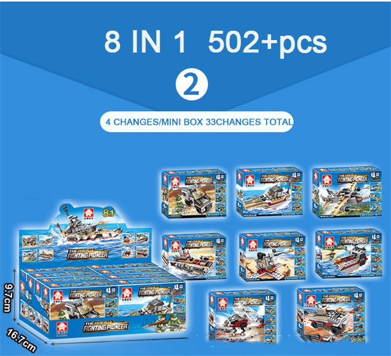 Toys For Children Compatible With LegoINGlys Battleship 502+PCS  8 IN 1 Warship Building Blocks Military Bricks With Mini Figure (2)