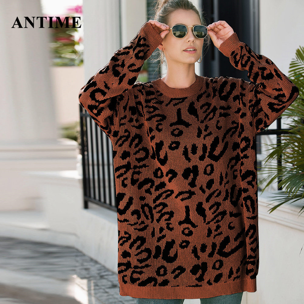 Antime Leopard Print Plus Size Sweater Casual Autumn Winter Knitted Pullover Oversized Tops Women Sweater Loose Jumper