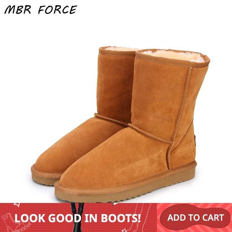 MBR kuvvet klasik hakiki inek derisi deri kar botları % 100% yün kadın çizmeler sıcak kış ayakkabı kadınlar için büyük boy 34 -44