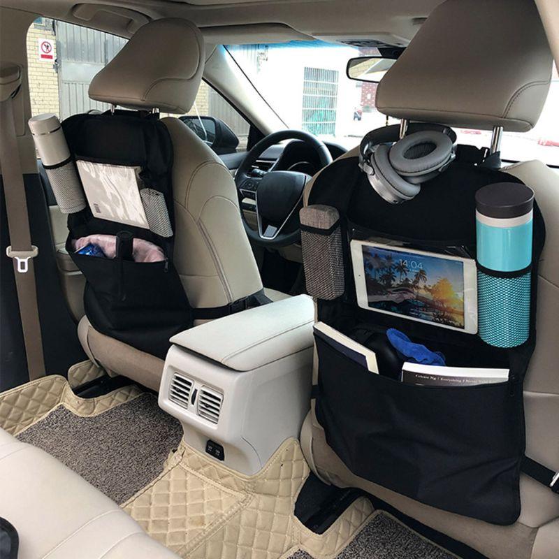 Car Back Seat Organizer Front Seat Storage Kids Pocket Bag Auto Travel Kick Mat K1KC