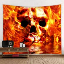 Halloween tapestry, flame skull, flame skull polyester tapestry halloween distressed skull pattern wall art tapestry