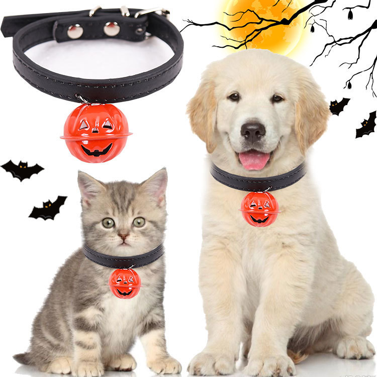 Pumpkin Bell Halloween Dog Neck Ring Pet Collar Cat Universal Teddy Can Hang Traction Small Medium