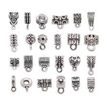 20pcs/lot Silver Pendant Clasps Hook Clips Bails Connectors necklace pendants Bail Bead For DIY Jewelry Making Findings supplies(China)