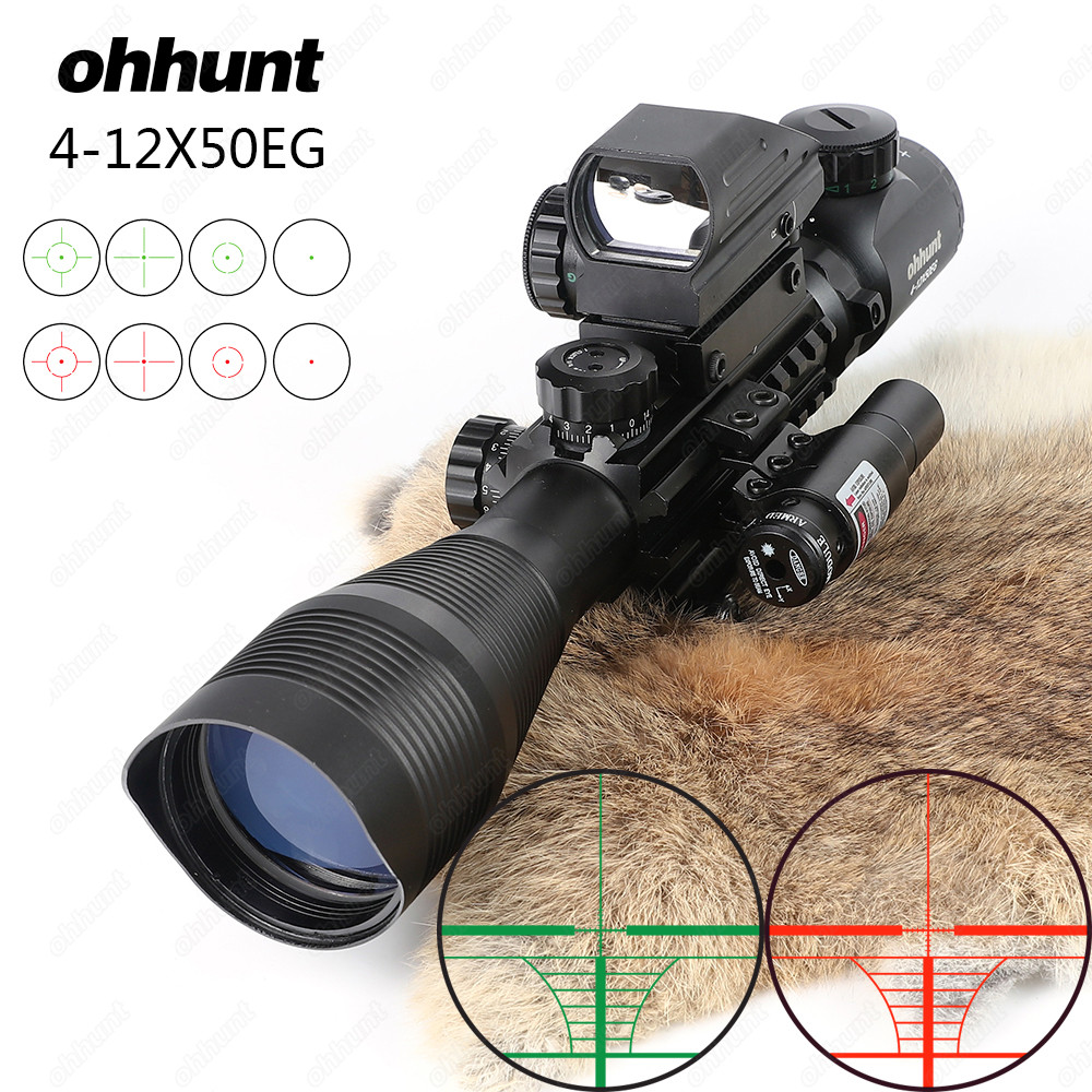 Ohhunt 4-12X50 Illuminated Rangefinder Reticle Rifle Scope Holographic 4 Reticle Sight 11mm And 20mm Red Laser Combo Riflescope