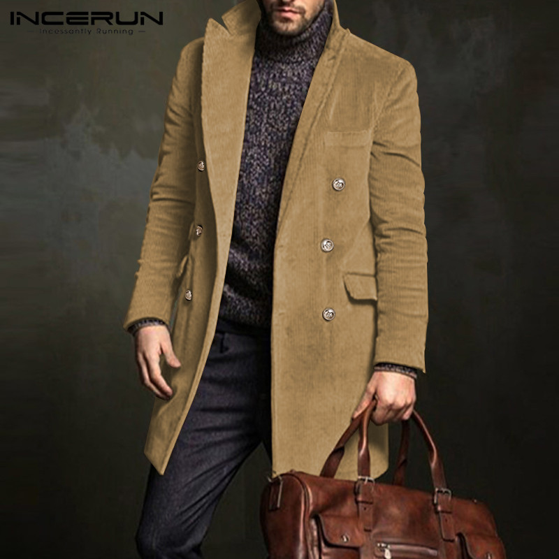 INCERUN Winter Fashion Men Coats Corduroy Long Sleeve Double Breasted Solid Outerwear 2020 Elegant Business Casual Men Overcoats