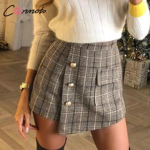 Image 1 - Conmoto vintage plaid autumn winter women skort elegant ladies pockets high waist skorts ladies high fashion OL skirt