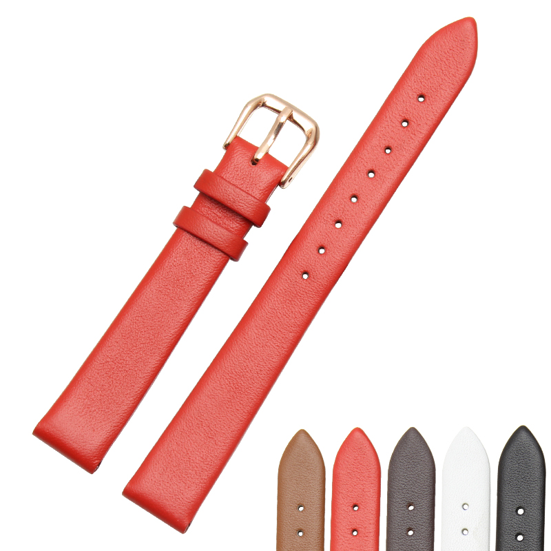 12mm 14mm 15mm 16mm 17mm 18mm 19mm Rose Gold Real Leather Strap, Watch Band, Lady Watch Free Postage.