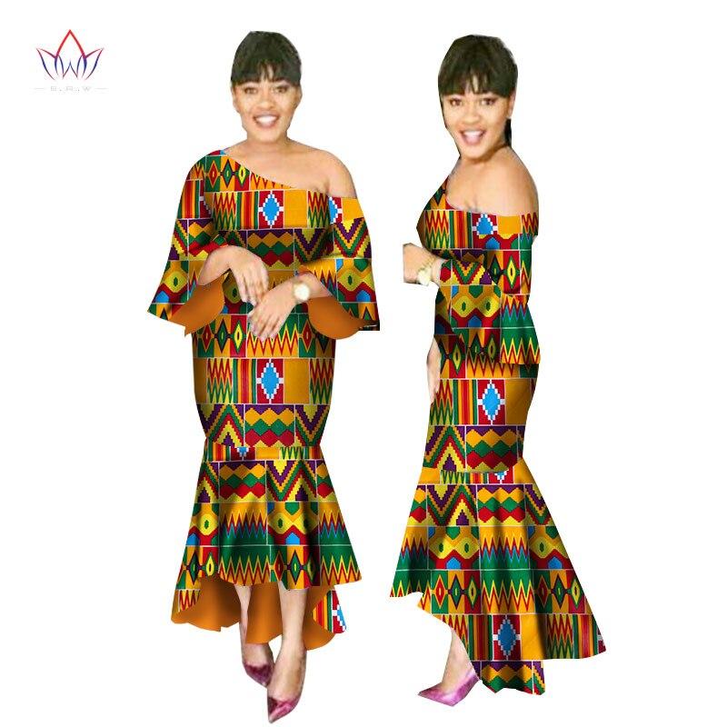 Robes d'été africaines pour femmes Ankara robe à une épaule Batik cire imprimé manches courtes sirène et Maxi robe WY2247