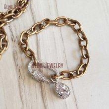 Античный золотой браслет-цепочка серебро CZ pave Oval винтовая застежка Браслет слеза падение BM28262