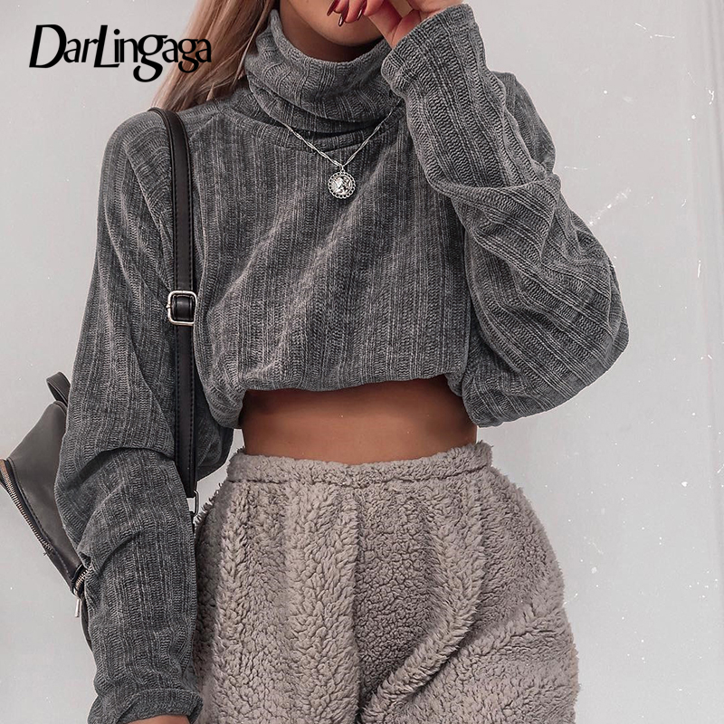 Darlingaga Casual Knitted Solid Turtleneck Sweatshirt Spring Autumn Pullover Cropped Tops Women's Sweatshirts Hoodies Streetwear
