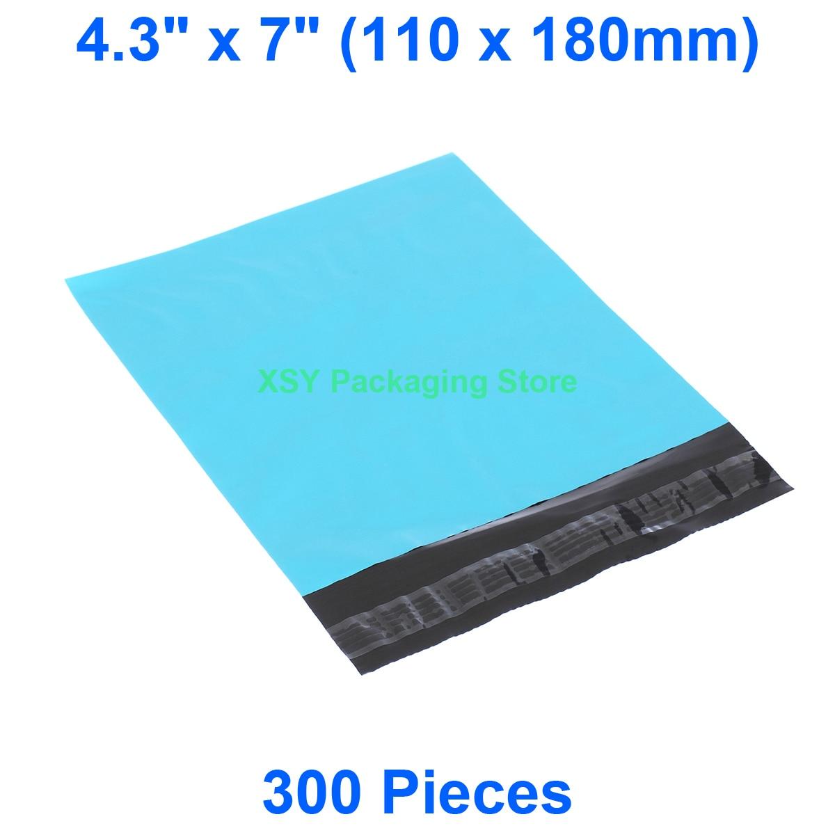 """300 шт синий пакет почтовый из ПВХ 4,3 """"x 7"""" (110x180 мм) Маленькие Пластиковые Конверты Почтовые отправка упаковочные почтовые пакеты"""