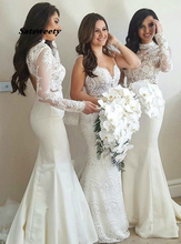 Sexy Bridesmaid Dresses Vestido De Festa Casamento Mermaid High Neck Sweep Train Ivory Stain Dress with Lace