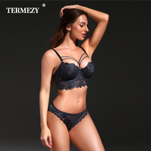 New Lingerie Sexy Underwear Set Women Bra Push Up Brassiere Cotton Gather 3/4 Cup Lingerie Set Embroidery Lace Bra and Panty Set termezy women sexy bra set luxury lace push up plus size underwear sexy lace briefs lingerie 3 4 cup bra and panty set 4 colors