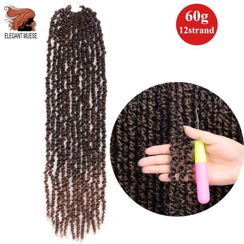 Digunakan Twisted Gairah Twist Rambut 18 Inch Ombre Crochet Rambut Sintetis Bom Twist Digunakan Melingkar Lembut Musim Semi Tikungan Mengepang Rambut