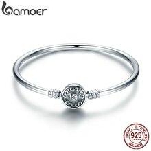BAMOER otantik % 100% 925 gümüş klasik gümüş S açacağı Vintage yılan zincir bileklik ve bilezik lüks takı SCB013