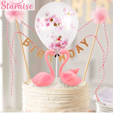 Flamingo Cake Topper Happy Birthday Decoration Kids Cupcake Decorating Tool Party